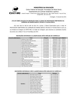 MINISTÉRIO DA EDUCAÇÃO Centro Federal de - cefet-mg