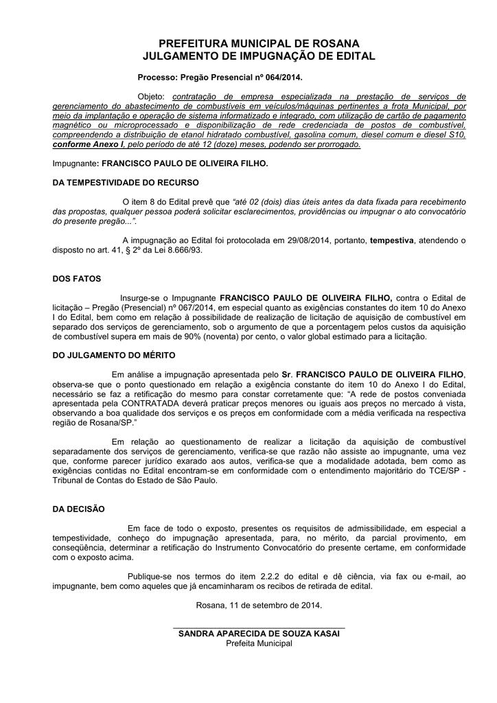 Julgamento De Impugnação Pp 064 2014