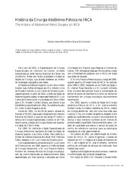 História da Cirurgia Abdômino-Pélvica no INCA