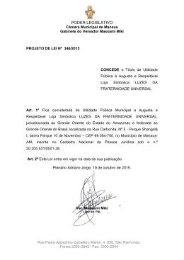 346/15 - Câmara Municipal de Manaus