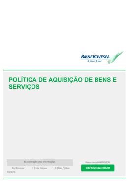 política de aquisição de bens e serviços