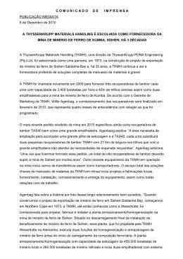 COMUNICADODEIMPRENSA PUBLICAÇÃO IMEDIATA 6 de