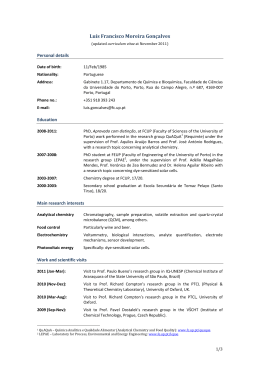 Curriculum Vitae of the Winner of the Young Researcher Prize 2011