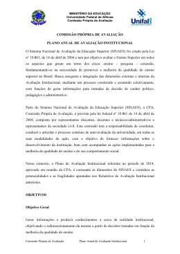 Plano de Avaliação Institucional 2014 - Unifal-MG