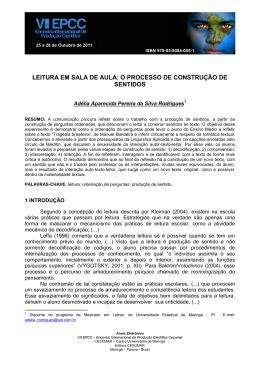 LEITURA EM SALA DE AULA: O PROCESSO DE