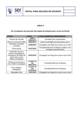 anexo ii seleção docente - etapas do processo seletivo
