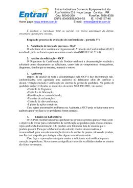 Etapas do processo de avaliação de conformidade – portaria 371