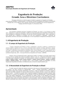 Engenharia de Produção: Grande Área e Diretrizes