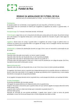 REGRAS DA MODALIDADE DE FUTEBOL DE RUA