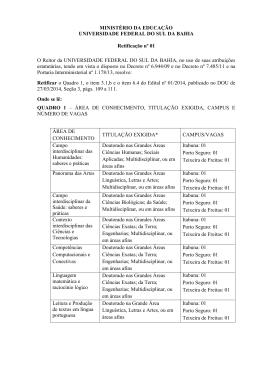 Retificação nº 01 EDITAL UFSB Nº 001