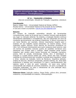 ST 21 – TRADUÇÃO LITERÁRIA Área de concentração