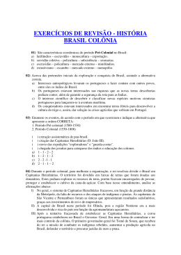 exercícios de revisão - história brasil colônia