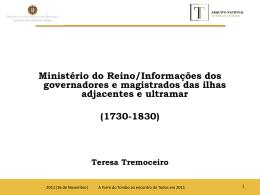 O Ministério do Reino/Informações dos governadores e magistrados