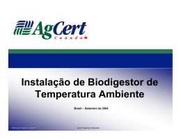 Instalação de Biodigestor de Temperatura Ambiente