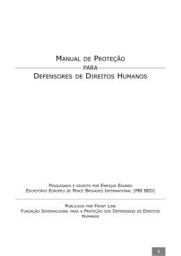 Manual de Proteção para defensores de direitos humanos (Frontline
