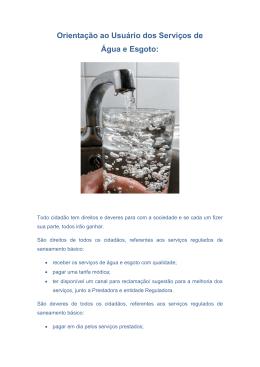 1ed1a44130c Orientação ao Usuário dos Serviços de Água e Esgoto