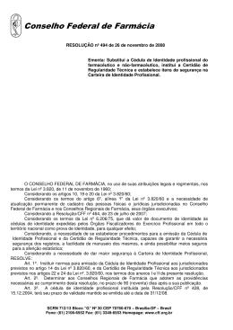 Altera a Resolução nº 494/08 - Conselho Federal de Farmácia