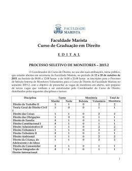 Faculdade Marista Curso de Graduação em Direito