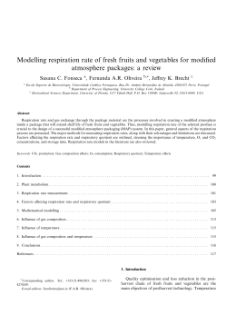 Modelling respiration rate of fresh fruits and vegetables for modified