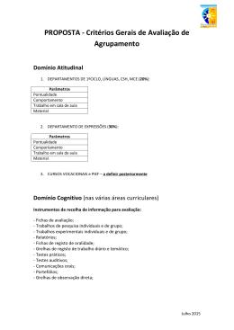 PROPOSTA - Critérios Gerais de Avaliação de Agrupamento