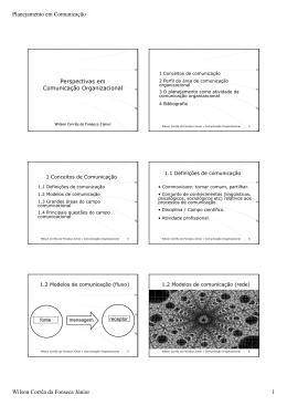 Planejamento em Comunicação Wilson Corrêa da Fonseca Júnior 1
