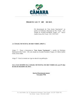 PROJETO LEI Nº 089 DE 2015. - Câmara Municipal de Rio Verde
