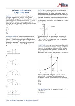 Exercícios de Matemática Função Exponencial