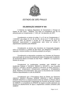 Deliberação ARSESP nº 484
