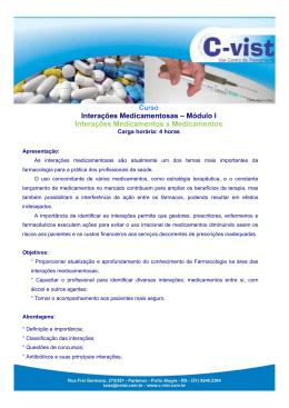 Interações Medicamentosas – Módulo I Interações Medicamentos x