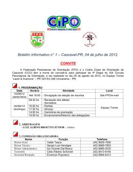 1ª Etapa do XV CIPO - Federação Paranaense de Orientação