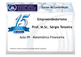 Empreendedorismo Prof. M.Sc. Sérgio Teixeira