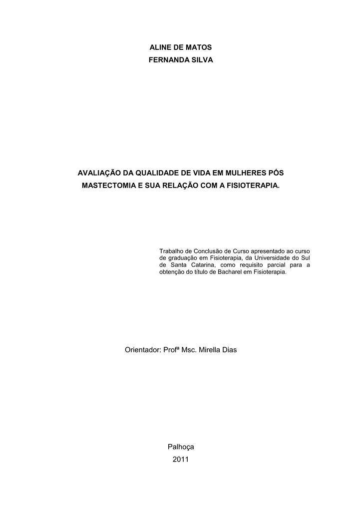 fcd104338 aline de matos fernanda silva avaliação da qualidade de vida em