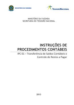INSTRUÇÕES DE PROCEDIMENTOS CONTÁBEIS