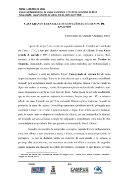 CASA GRANDE E SENZALA E SUA INFLUÊNCIA EM MENINO DE