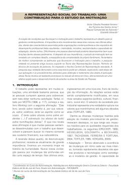 a representação social do trabalho: uma contribuição para o estudo