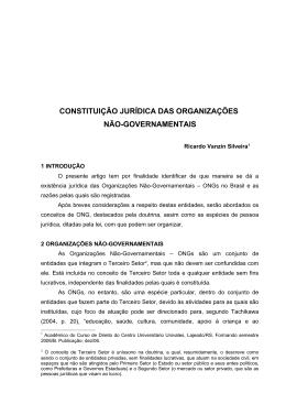 Constituição Jurídica das Organizações Não