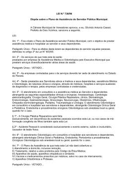 LEI N.º 738/96 Dispõe sobre o Plano de Assistência do Servidor