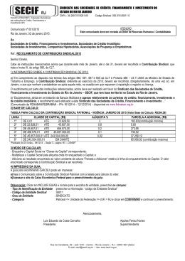Comunicado - Contribuição Sindical 2015.