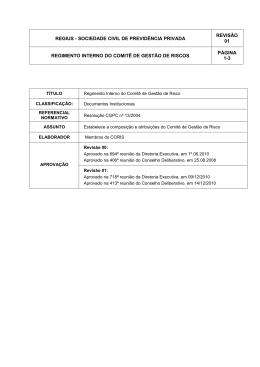 REGIMENTO COMITÊ RISCOS _Revisão 01