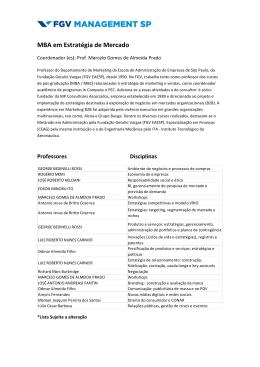 Lista de Professores - MBA em Estratégica de