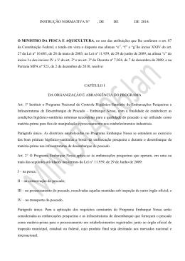 Projeto de Instrução Normativa - Ministério da Pesca e Aquicultura