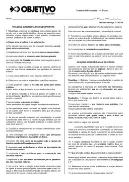 Trabalho de Português 1 –> 9º ano Nome: 9° a
