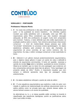 Gabarito Comentado Simulado 1 de Português