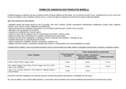 TERMO DE GARANTIA DOS PRODUTOS MARELLI