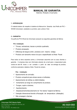 MANUAL DE GARANTIA - Unicomper | PVC Wood Perfis
