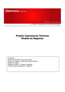 Projeto Impressoras Térmicas Modelo de Negócios