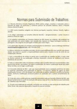Normas para Submissão de Trabalhos: