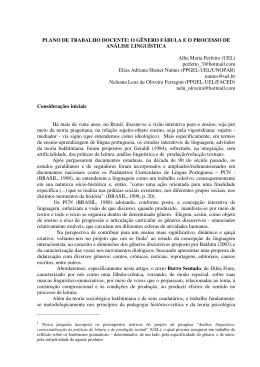 PLANO DE TRABALHO DOCENTE: O GÊNERO FÁBULA E O