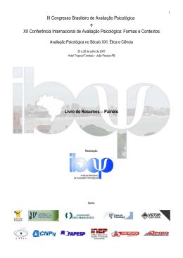 III Congresso Brasileiro de Avaliação Psicológica e XII Conferência
