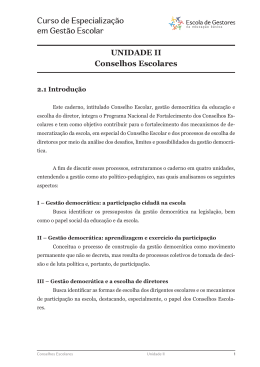 UNIDADE II Conselhos Escolares
